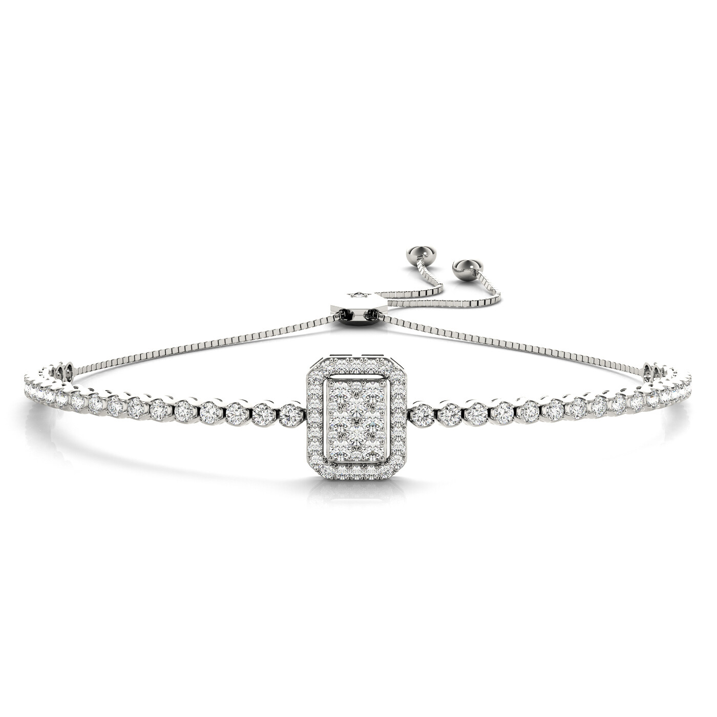 18K Diamond Cluster Tennis Adjustable Bracelet,Diamond Bolo Bracelet