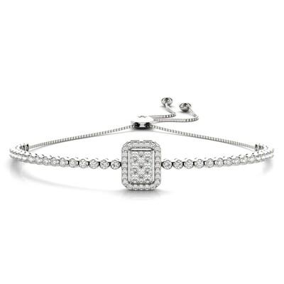 18K Diamond Cluster Tennis Adjustable Bracelet,Diamond Bolo Bracelet