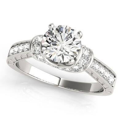 14K Diamond engagement ring cluster sides