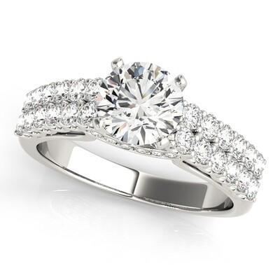 14K Diamond engagement ring multi row