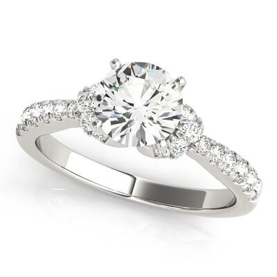 14K Diamond engagement ring single row prong set