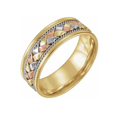 14K Tri-Color 8 mm Woven Band