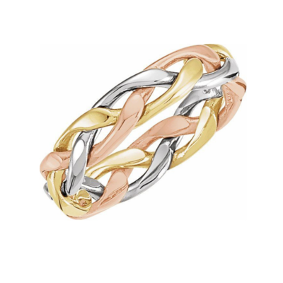 14K Tri-Color 4.75 mm Woven Band