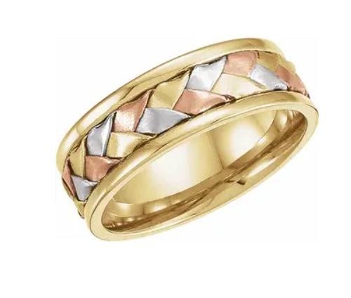 14K Tri-Color 7.75 mm Woven Band
