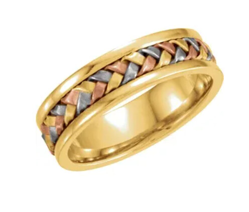14K Tri-Color 5 mm Woven Band