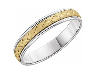14K White and Yellow Gold 4 mm Woven-Design Band
