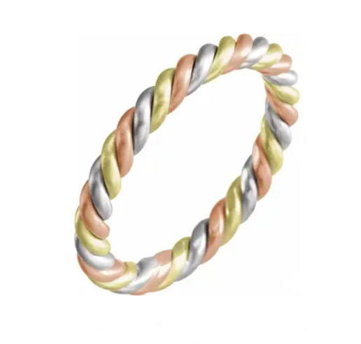 14K Tri-Color 2.5 mm Rope Band