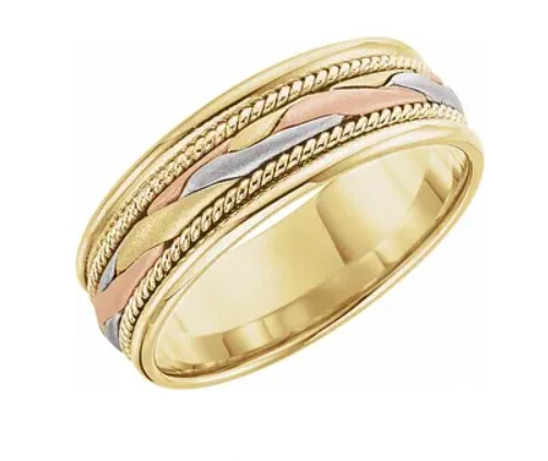 14K Tri-Color Gold 7 mm Woven Band
