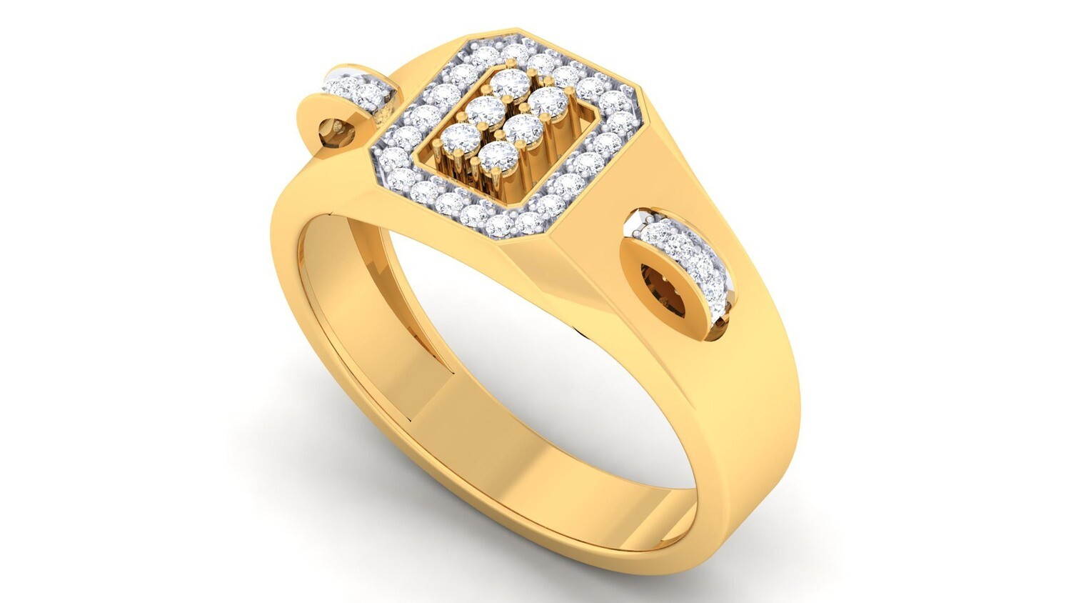 3d CAD jewelry model diamond signet ring