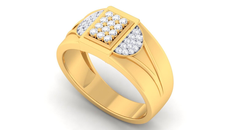 3D CAD jewelry model diamond signet ring