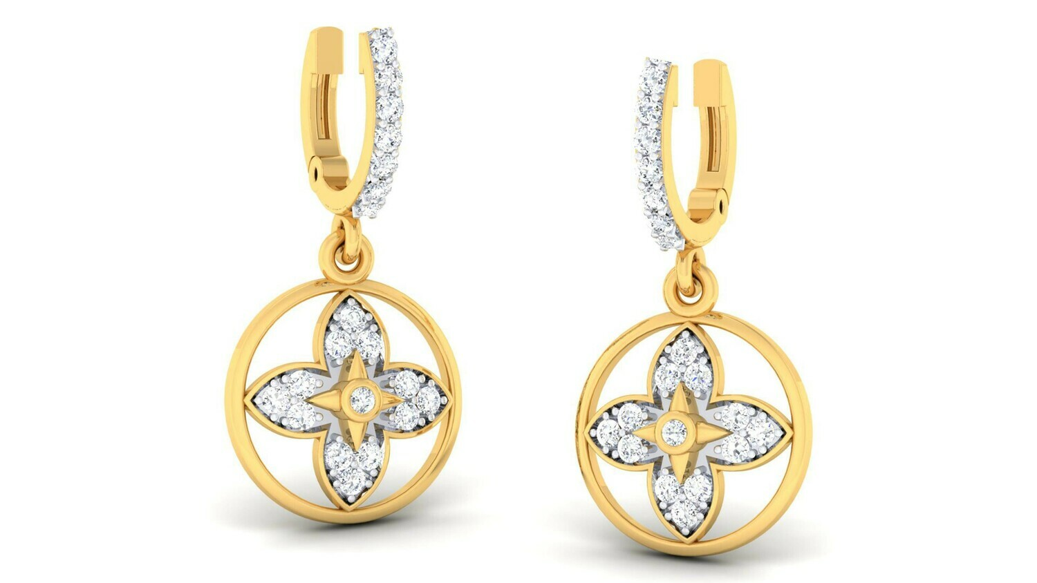 3D CAD jewelry model diamond earrings and pendant