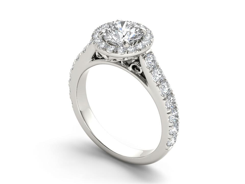 3Д файл, ювелирное кольцо с бриллиантами, помолвочное кольцо