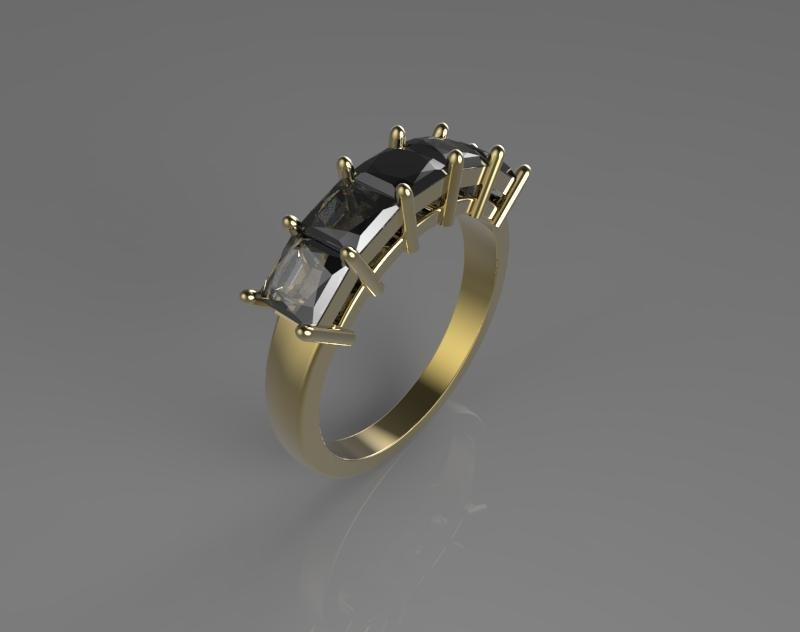 3D CAD Model of Five Diamonds Engagement ring