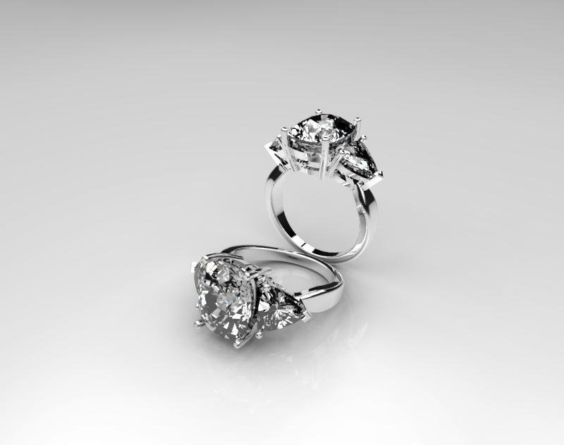 3D CAD Model of Gold and Cushion Cut Stone Engagement Ring