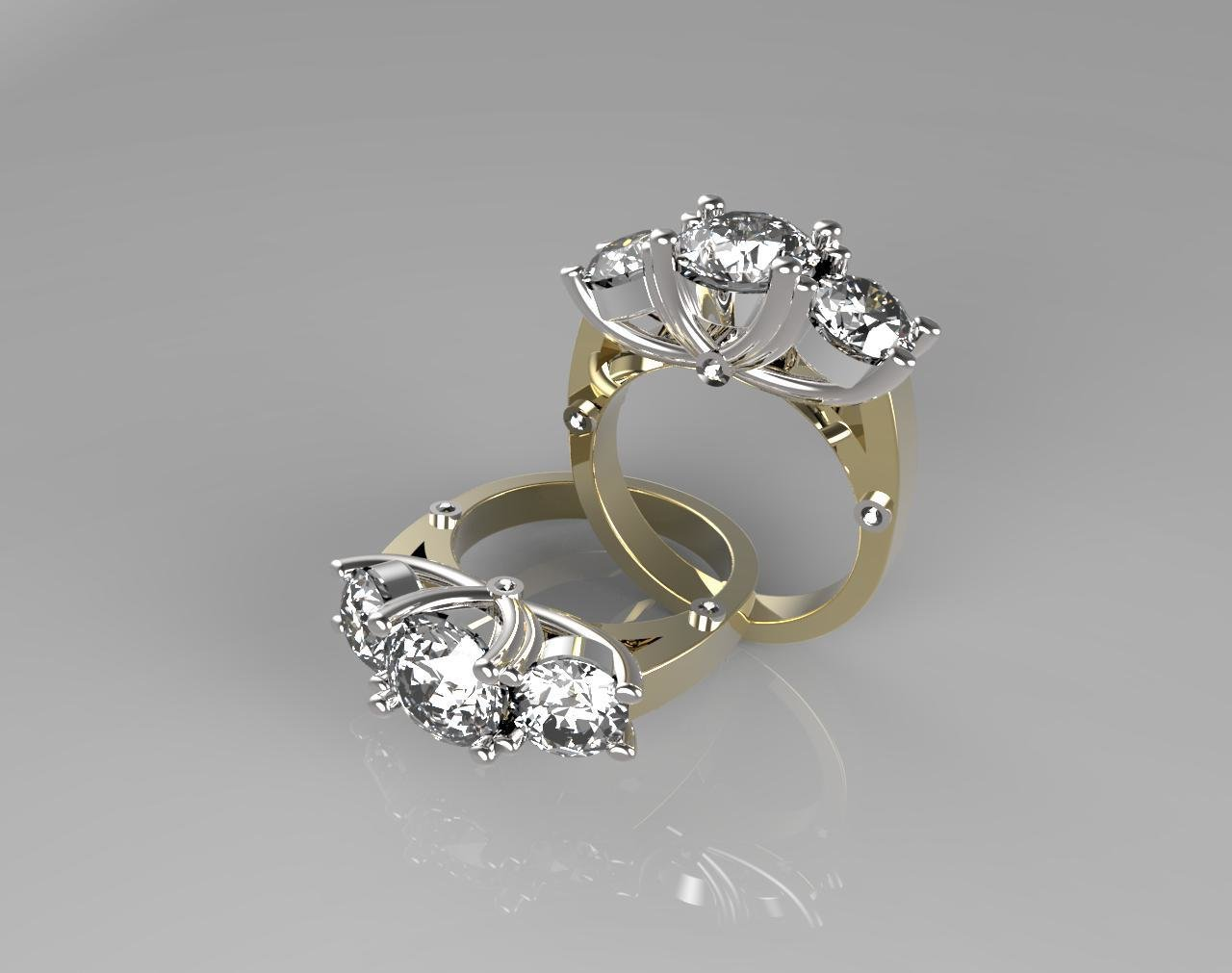 3 Stones engagement ring,(size 6.5 in US sizing)