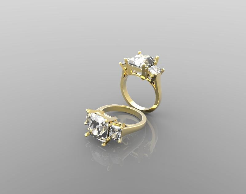 3D Model of Diamonds Engagement Ring(Size-6.5US)