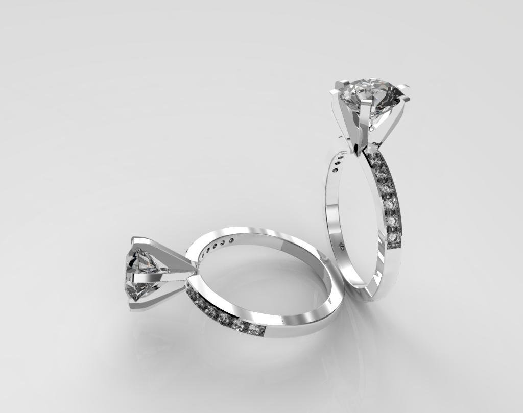 3D Model Gold and Diamonds Engagement Ring