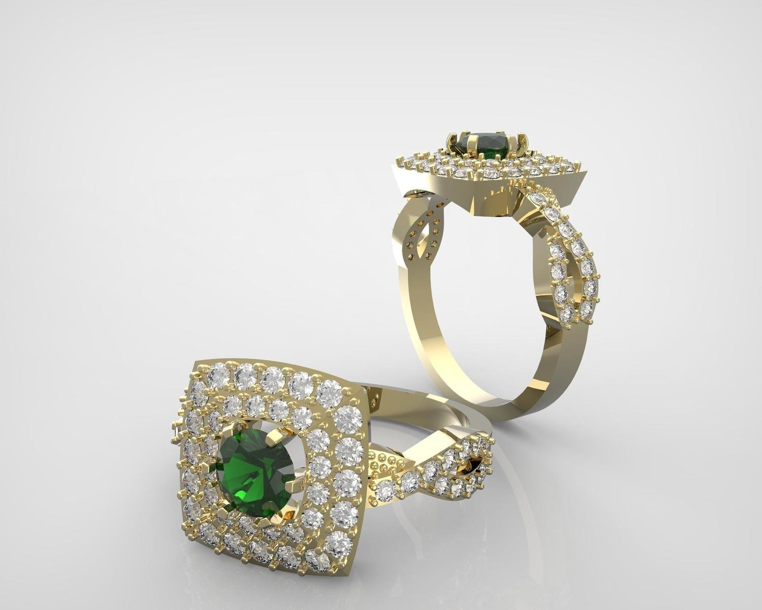 3D CAD Anniversary ring,diamonds and sapphire