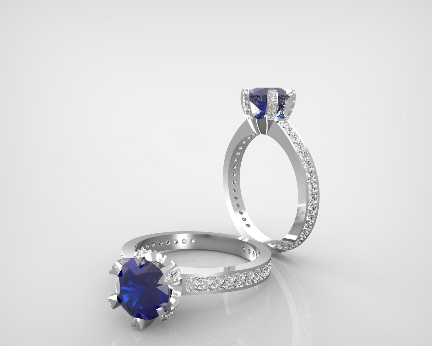 3D CAD model of Engagement ring with diamonds
