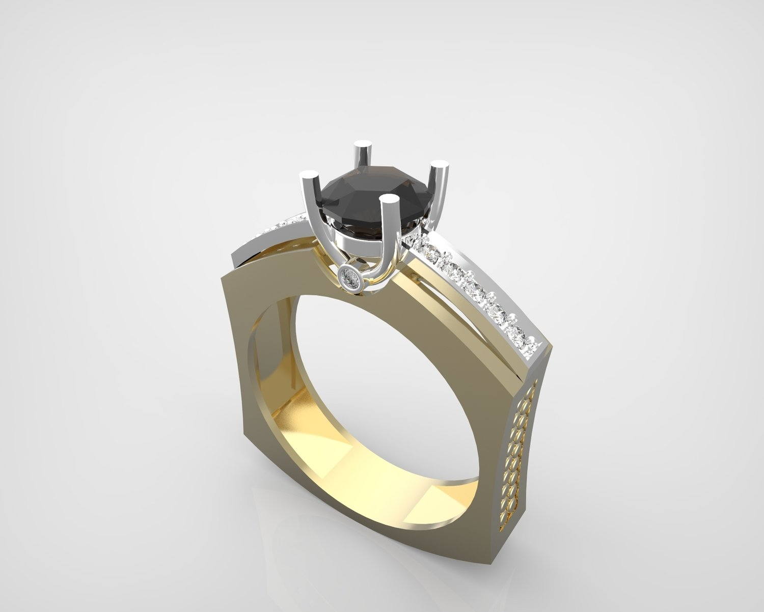 3D Model of Gold and Diamond Engagement Ring
