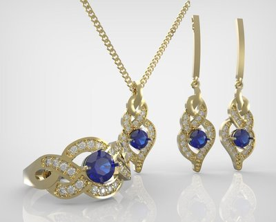 3D Model of Gold and Diamonds Earrings