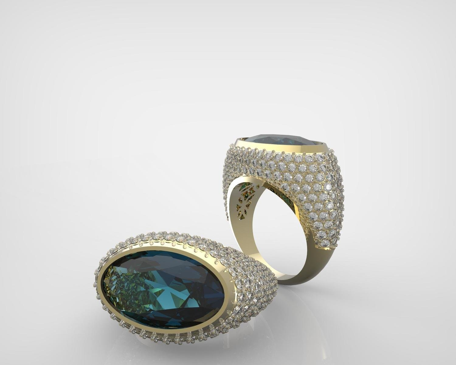 3D CAD Custom Design Model of Diamond Ring