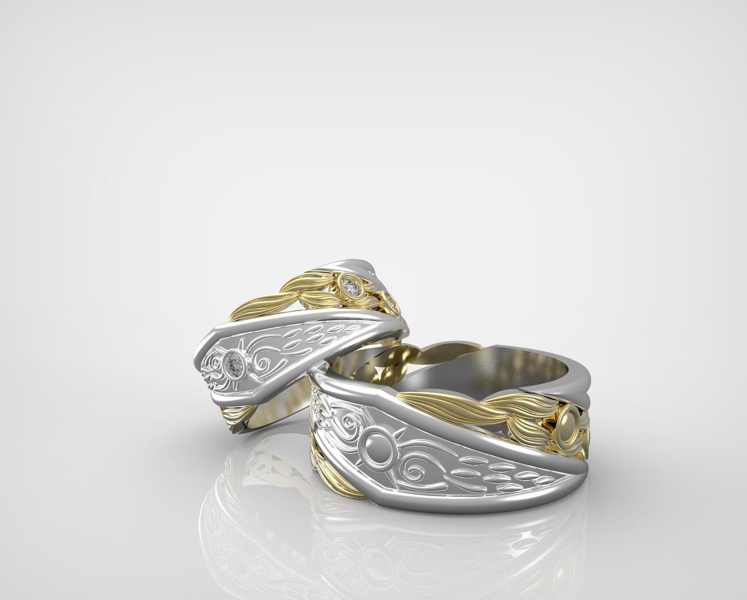 3D CAD Model of Wedding Rings (pair)