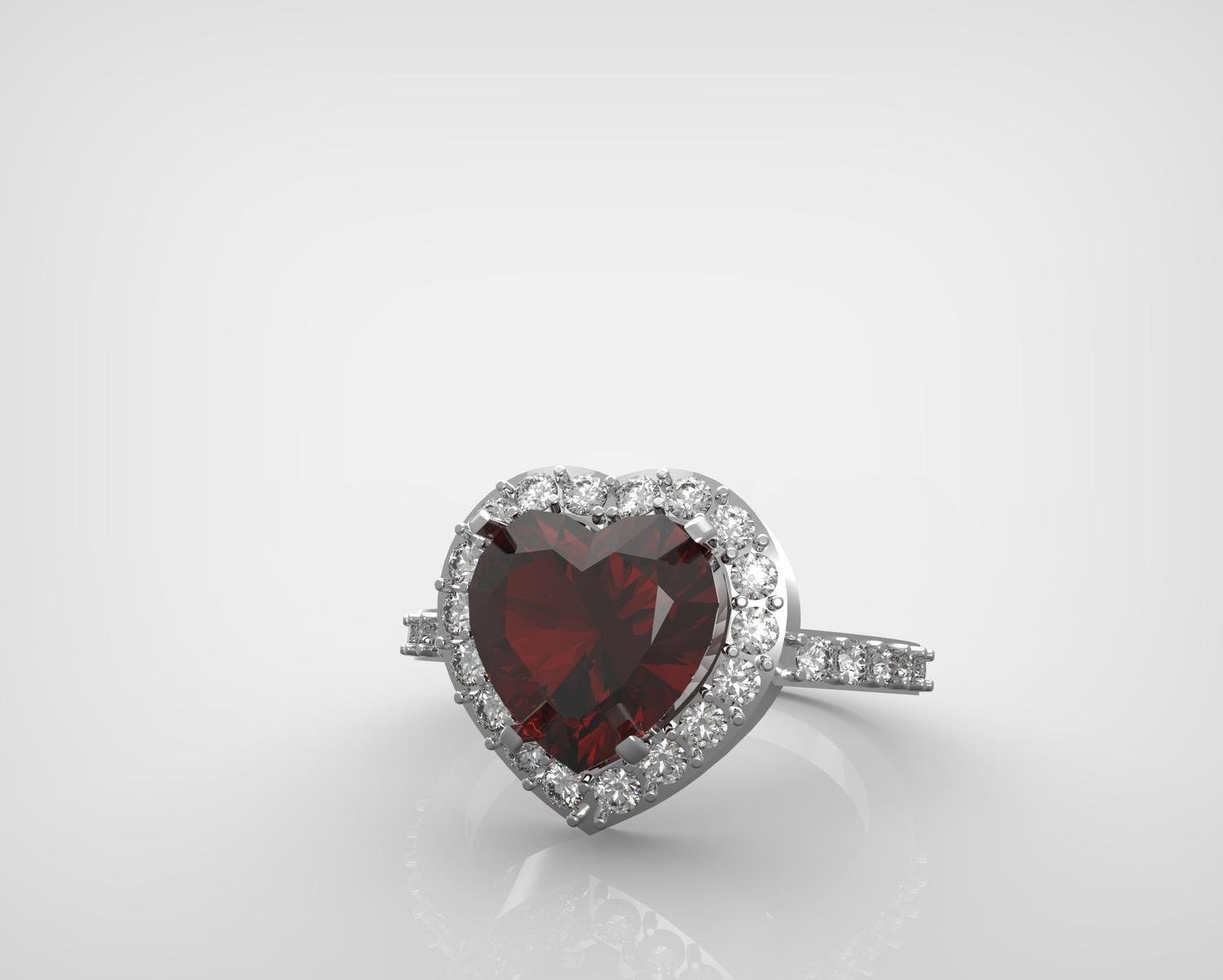 3D CAD Model of Diamond Engagement Ring with heart cut stone