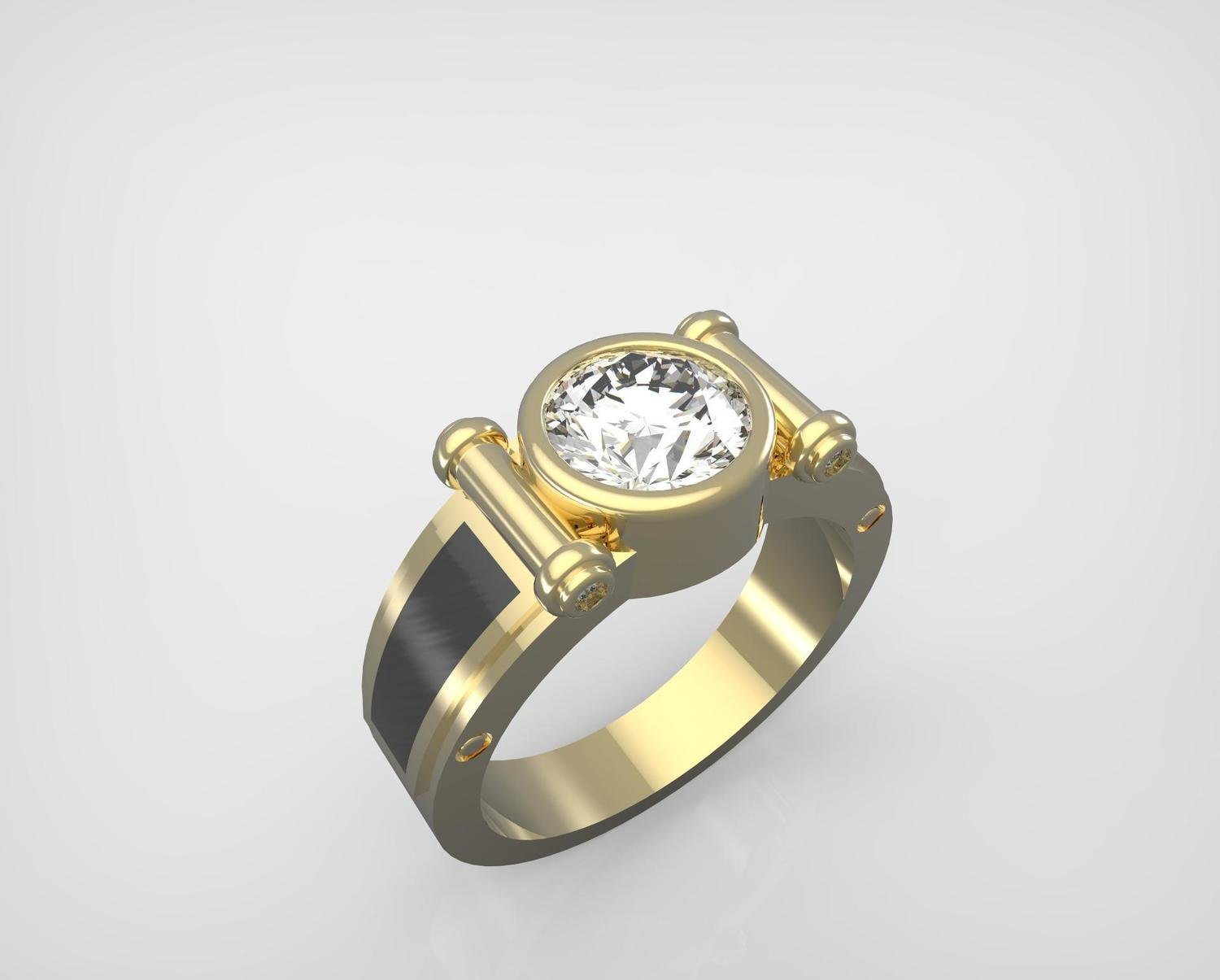 3D Model of Custom Signet Diamond Ring