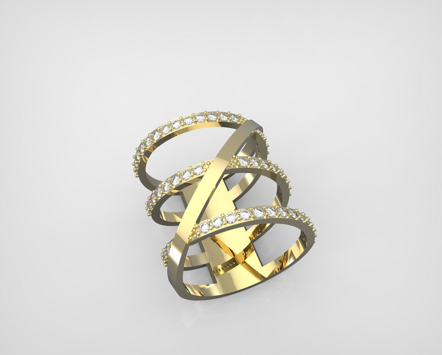3D CAD Model of Gold and Diamond  Ring