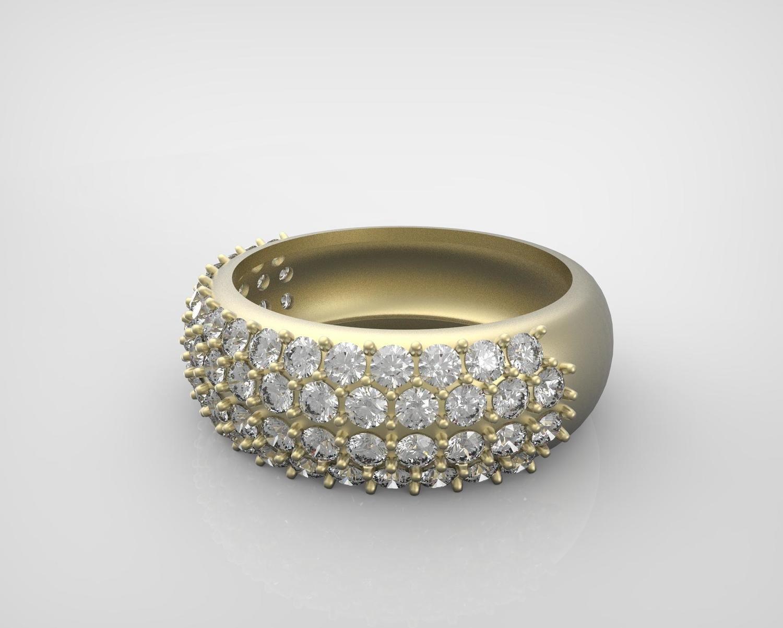 3D CAD Model of Custom diamond Ring