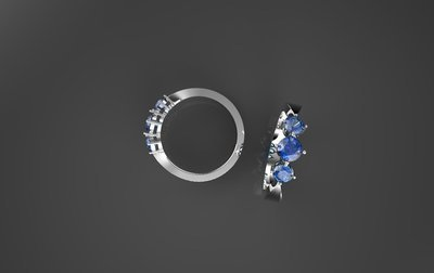 3D CAD Model,Ring with Sapphires