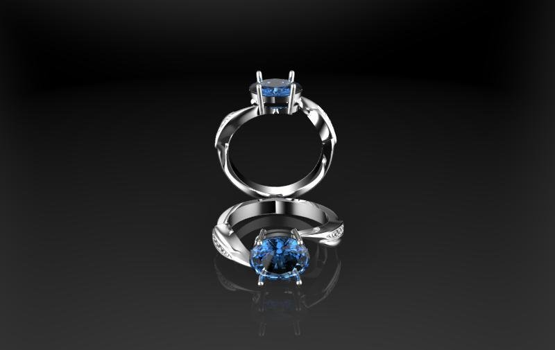 3D CAD Model,Engagement Ring with Sapphire
