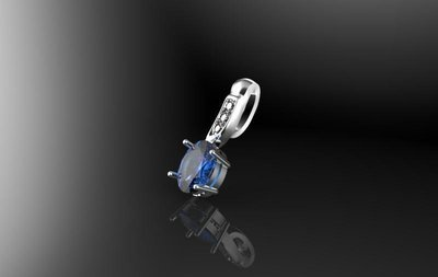 3D CAD Model of Pendant with Sapphire,