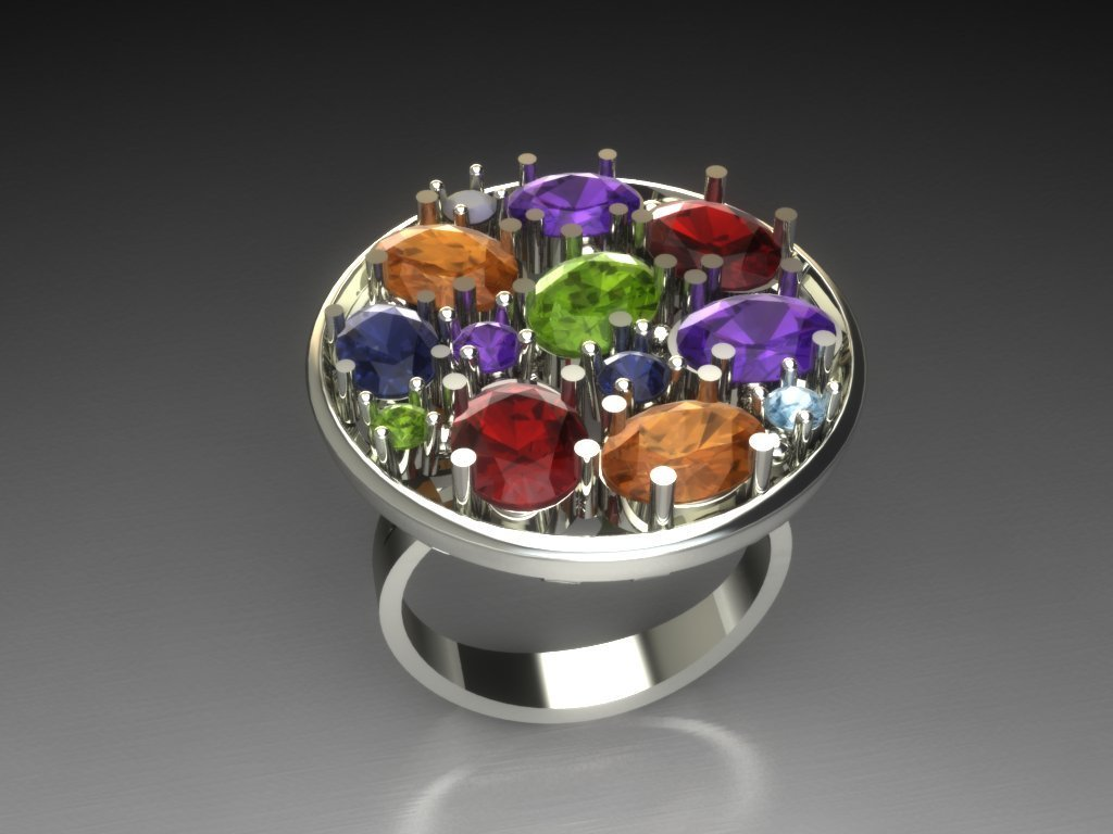 Ring with Colored Stones, 3D Model,CAD Model