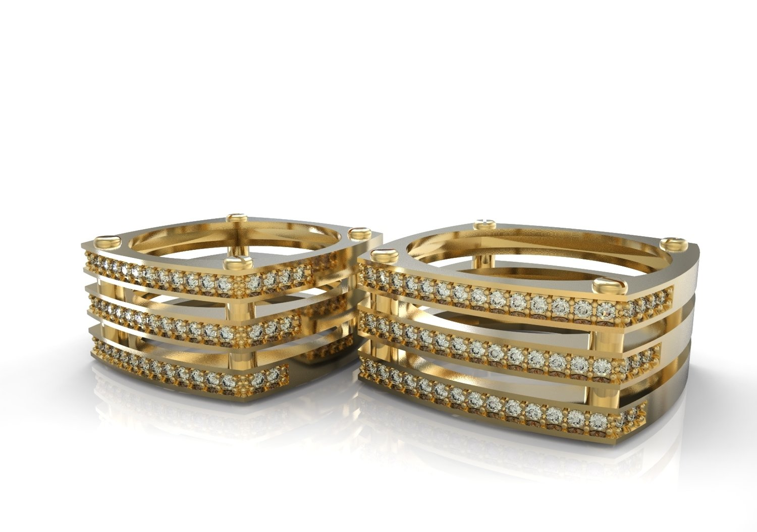 3d Model of Wedding Ring with Diamonds
