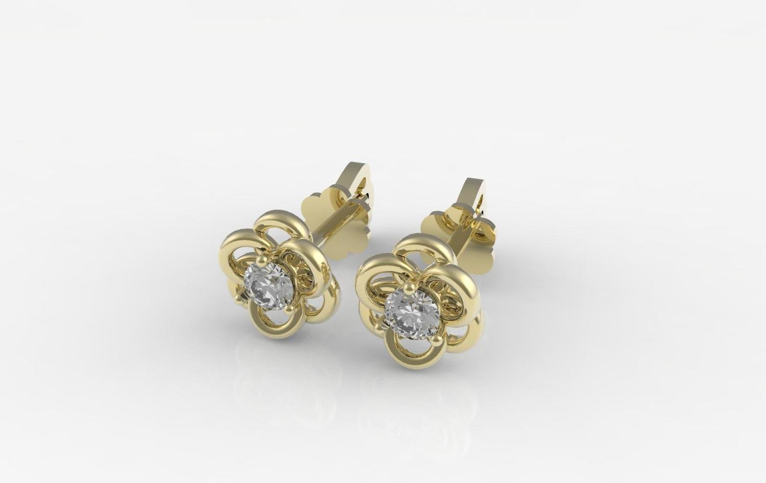3D CAD model of diamond stud earrings with push back