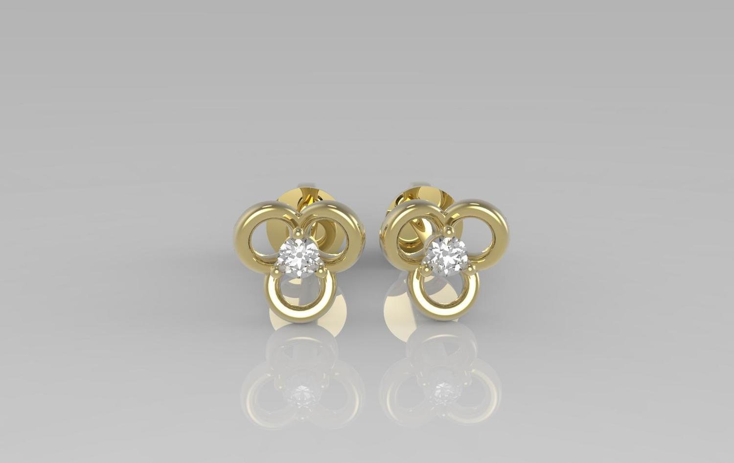 3D CAD model of Floral design diamond earrings with stones