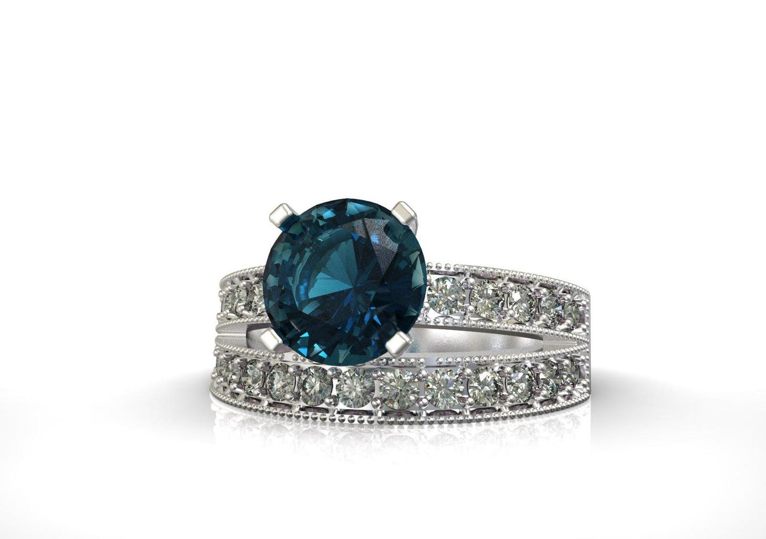 3d model of Engagement Ring with Sapphire and Diamonds