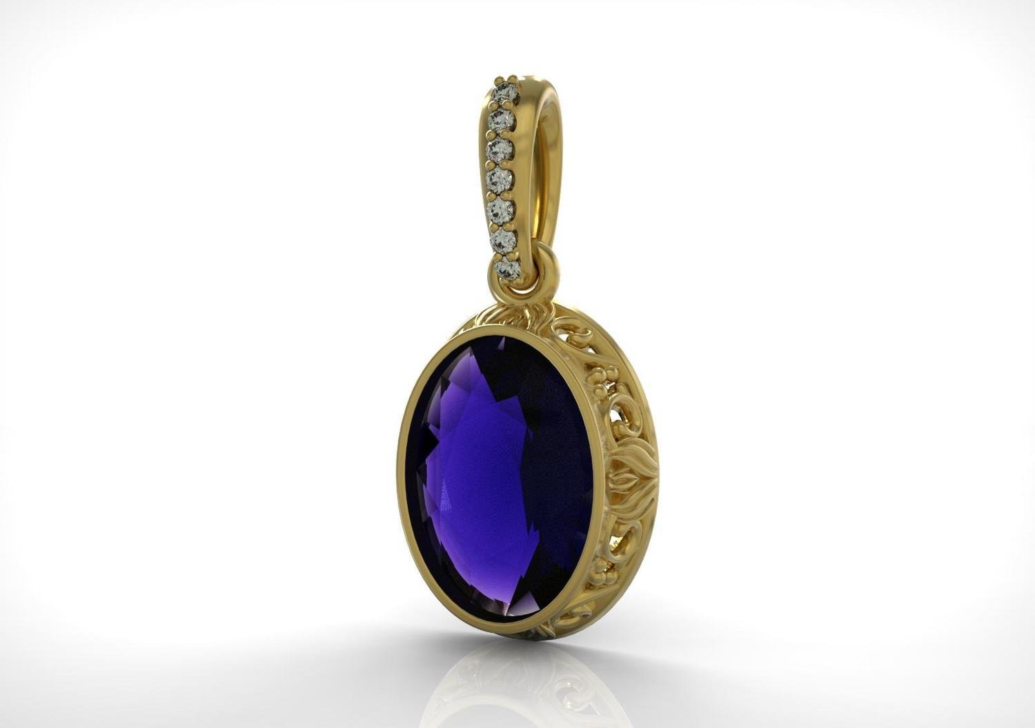 3D CAD Model of Pendant  with Sapphire and Diamonds