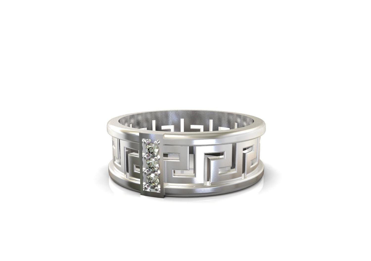 3D File of Wedding Ring with Diamonds