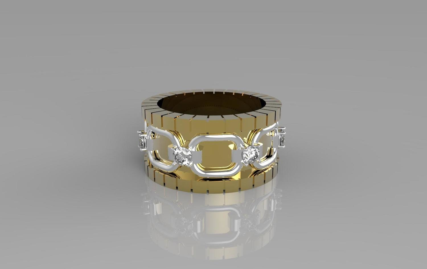 CAD Model of Wedding Ring with Diamonds