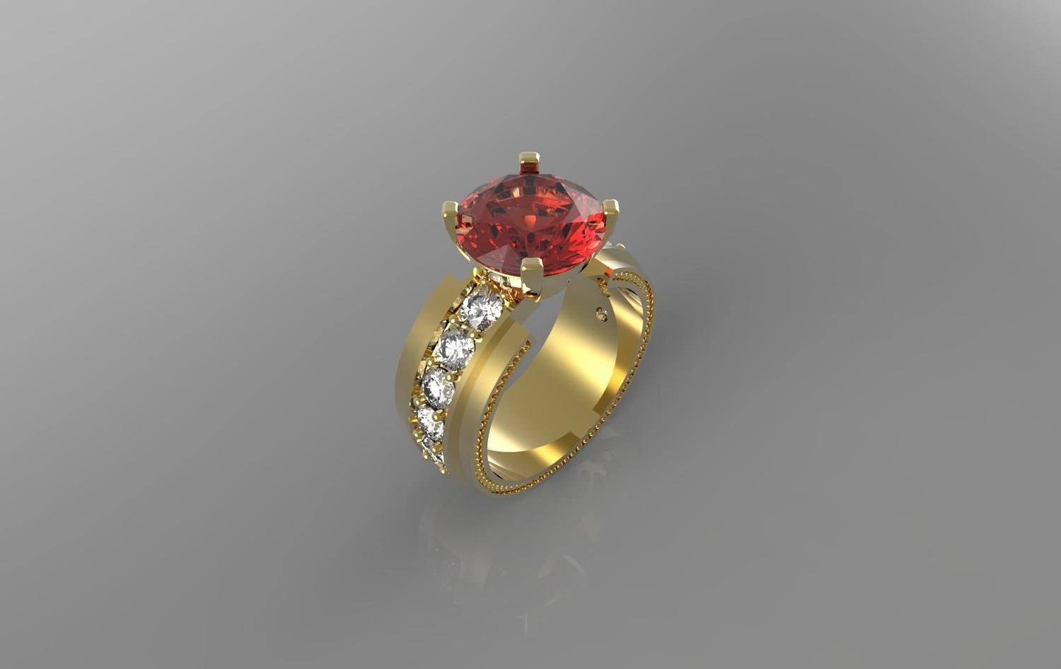 3D CAD Model of Engagement Ring with Ruby and Diamonds