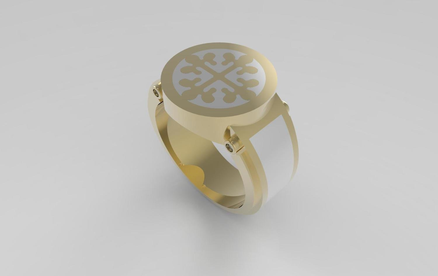 3D CAD Model of Men's  Diamond Signet Ring