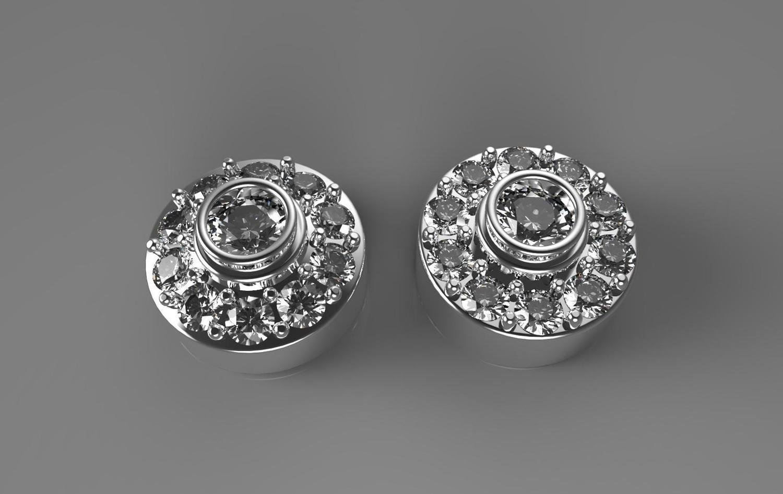 3D CAD model of diamond stud earrings