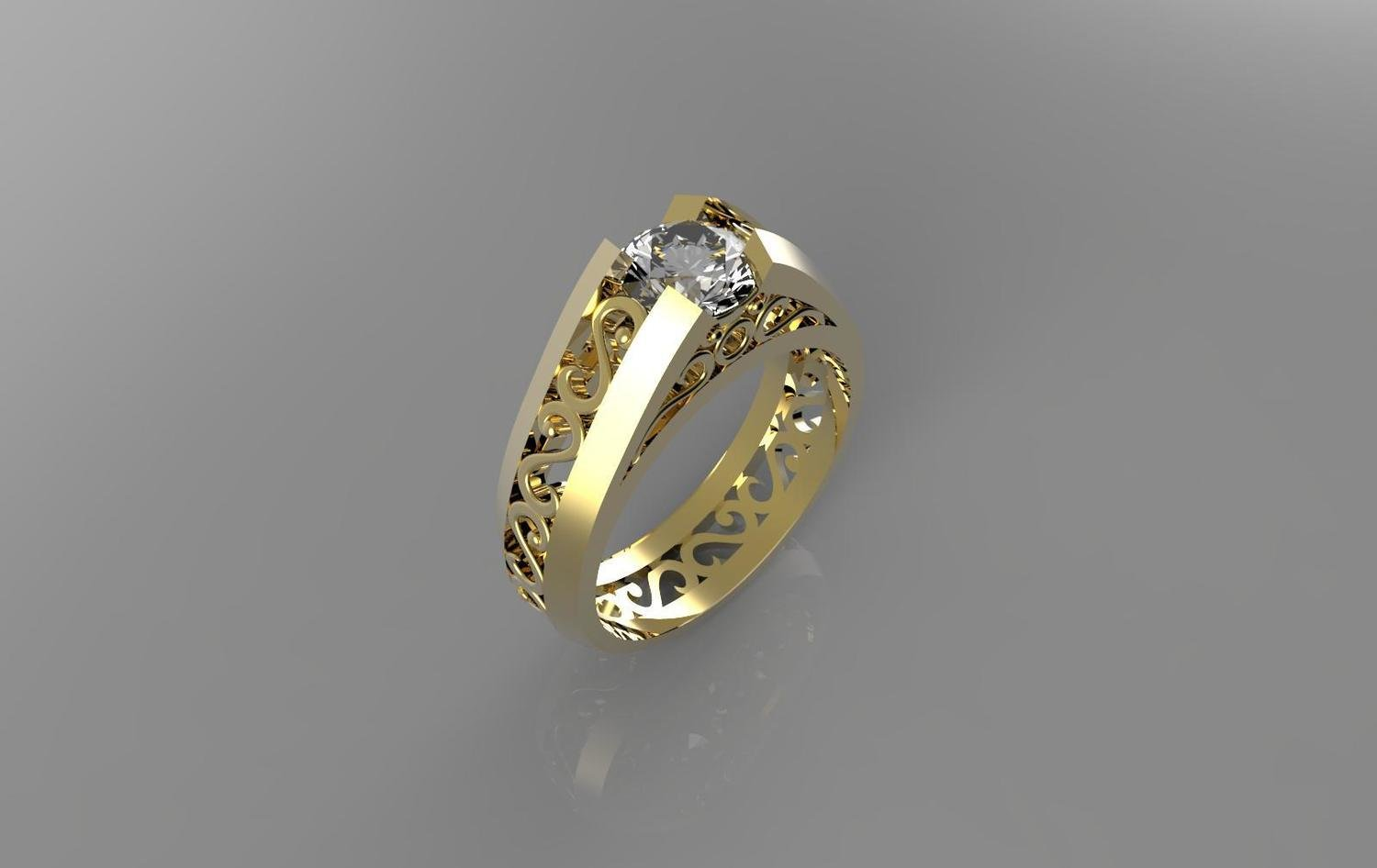 3D CAD Model of Anniversary Ring with  Diamonds