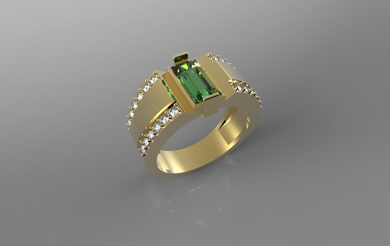 3D  CAD Model of Anniversary Ring with Emerald and Diamonds