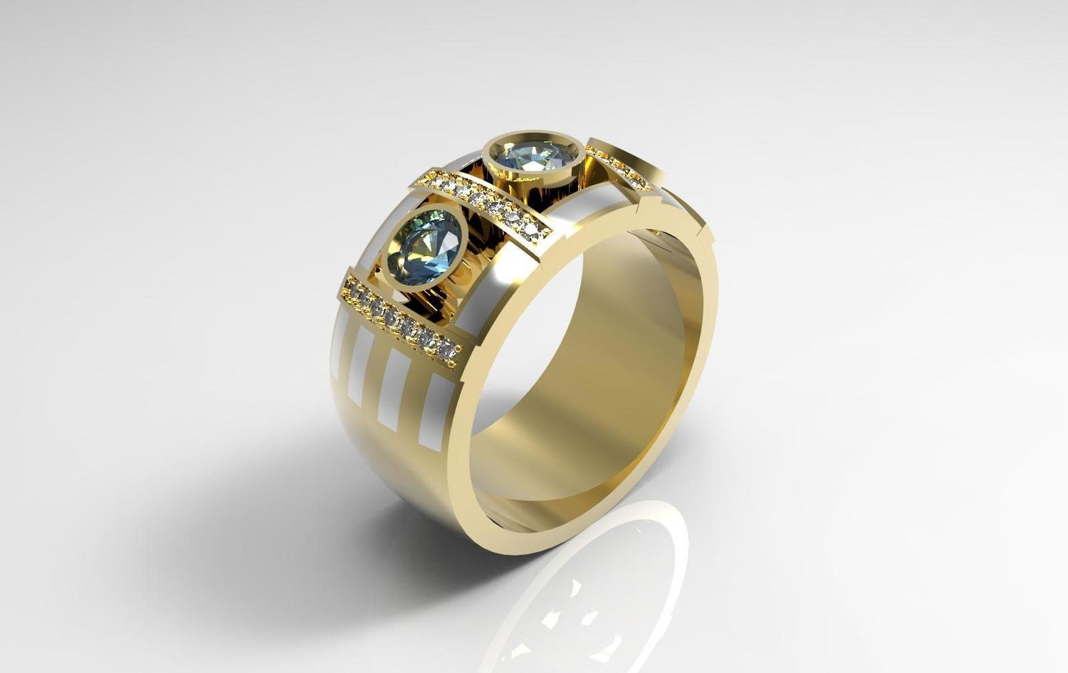 3D Model of Anniversary Ring with Sapphires and Diamonds