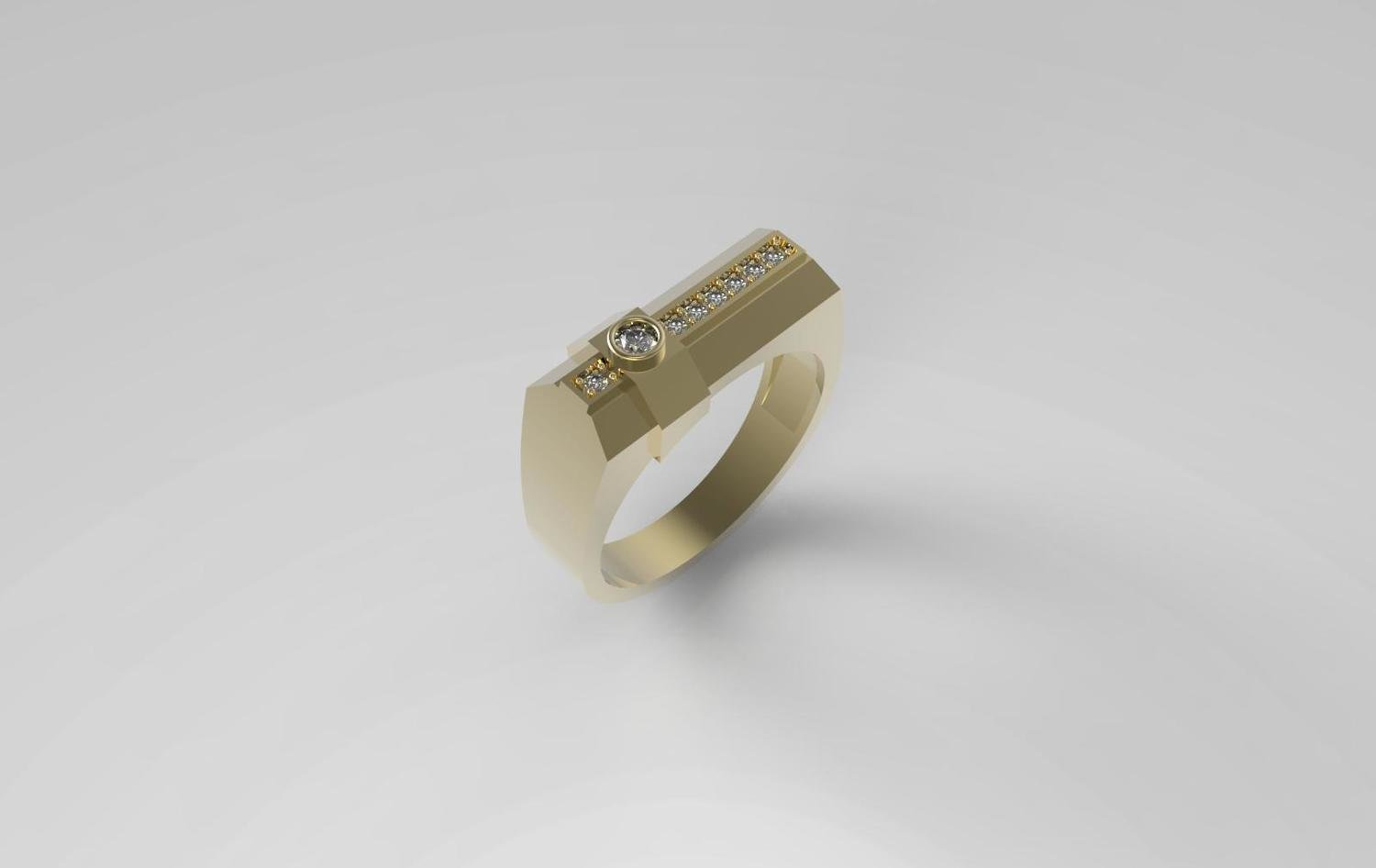 3D Model of Men's Signet Ring with Diamonds