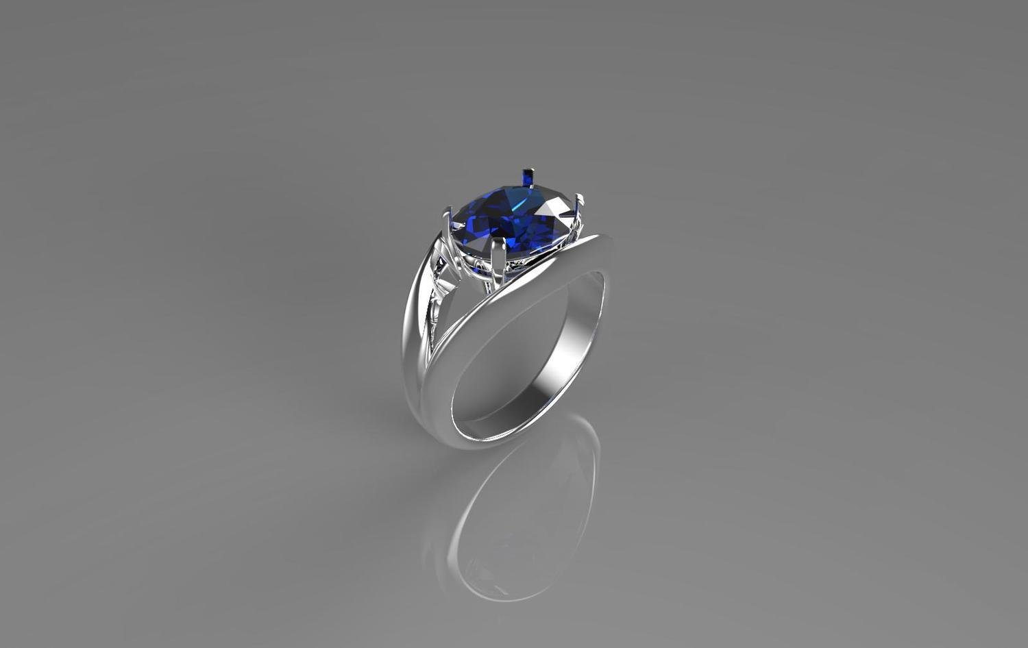 3D CAD Model of Engagement Ring with Sapphire